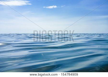 Water Surface of the North Sea with blue Sky
