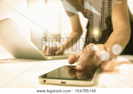 Business People Holding Mobile Phone About Research Data For Discuss Business Planning Market And Wi