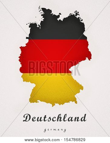Deutschland Germany DE Art Map colored illustration