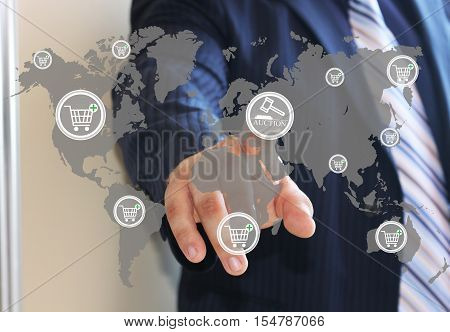 The concept of online auctions online shopping. Making purchases on the Internet, online banking , online trading, billpay, online wallet. Store, payment online .Web icons.