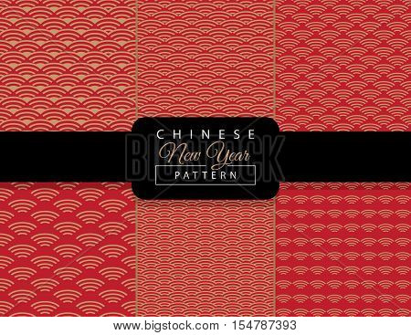 Chinese New Year pattern. Chinese luxury background. Set of Asian traditional seamless pattern with gold wavy ornament on red background. Vector illustration. Ornamental silk texture. Print