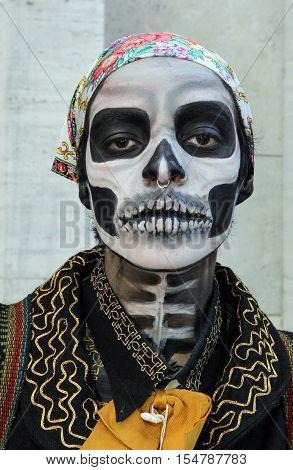 Girl In Tradicional Skull Costume In Zombie Walk Sao Paulo