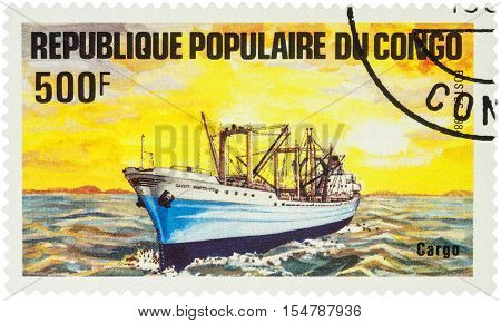 MOSCOW RUSSIA - AUGUST 05 2016: A stamp printed in Congo shows image of cargo ship series