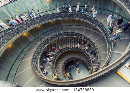 VATICAN - SEPTEMBER 232015 : Spiral stairs of the Vatican Museums in Vatican in Rome Italy.