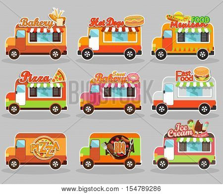 Set of vector illustrations food truck - ice cream, BBQ, sweet bakery, hot dog, pizza, mexican and fast food.