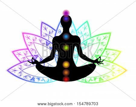 Yoga meditation sitting in lotus position on the white baskground