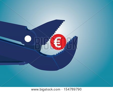 Concept Of Euro Zone With Coin And Pipe Wrench. Concept Business Illustration. Vector Flat