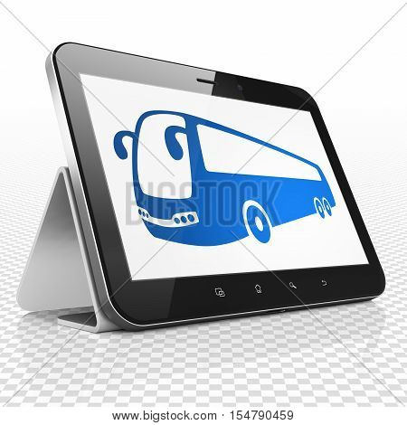 Tourism concept: Tablet Computer with blue Bus icon on display, 3D rendering