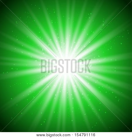 Abstract advertisement banner with magic bright sparkle in center and glitters around for disco party flyer template. Star burst with long rays or explosion. Ready for your design. Vector EPS10.