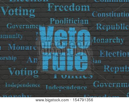 Politics concept: Painted blue text Veto Rule on Black Brick wall background with  Tag Cloud