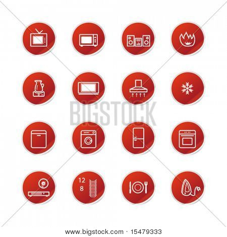 red sticker household appliances icons