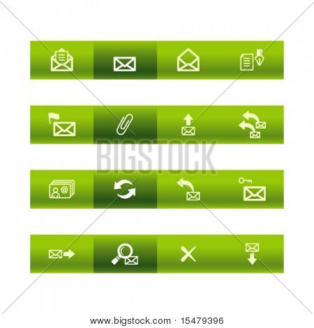 Green bar e-mail icons. Vector file has layers, all icons in two versions are included.
