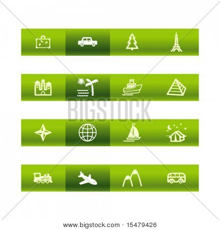Green bar travel icons. Vector file has layers, all icons in two versions are included.