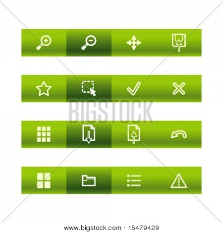 Green bar viewer icons. Vector file has layers, all icons in two versions are included.