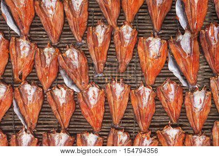 Drying Trey niet (cambodian dry fish) on display Cambodia