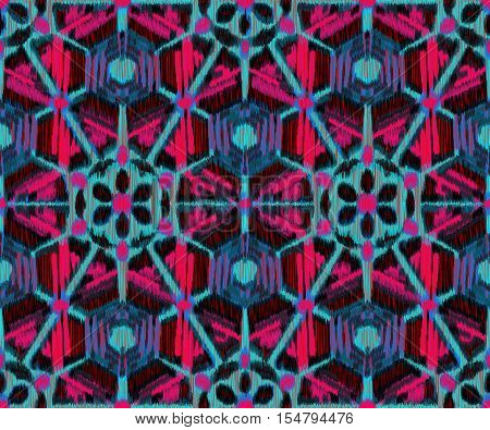 Seamless Ikat Pattern with a geometrical ornament . Abstract background for textile design wallpaper surface textures wrapping paper.