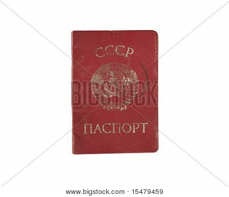 Old soviet passport of USSR isolated on white