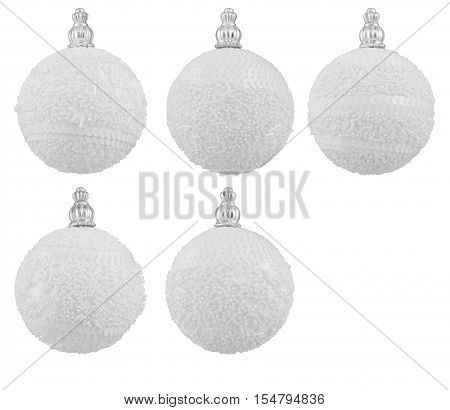 Ball Christmas Decoration, New Year Hanging Balls, White Isolated