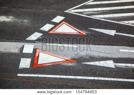 yield sign marked at the street in vienna Austria