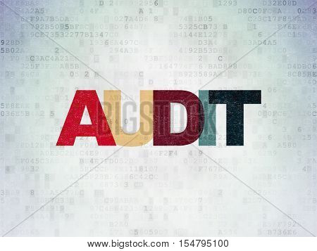 Finance concept: Painted multicolor text Audit on Digital Data Paper background