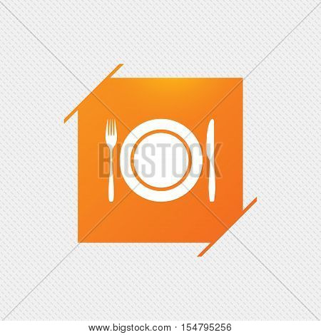 Plate dish with fork and knife. Eat sign icon. Cutlery etiquette rules symbol. Orange square label on pattern. Vector