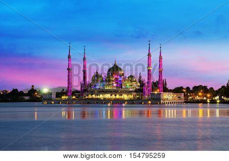Night view of crystal mosque in Kuala Terengganu Malaysia. Crystal mosque is beautiful mosqoe in Malaysia.