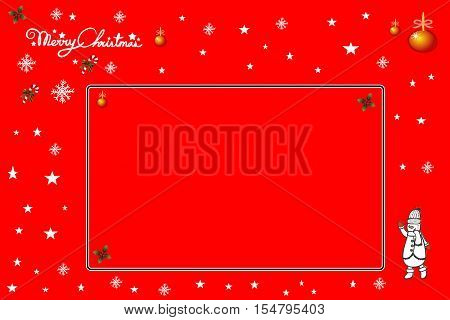 2016 Christmascard with space for text, red background, illustrated icons
