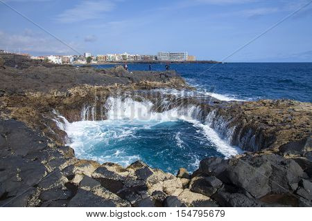 Gran Canaria Telde municipality La Garita blowhole coastal formation october 2016