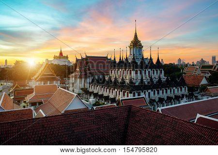 Wat Ratchanatdaram temple and Metal Castle in Bangkok Thailand