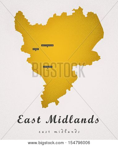 East Midlands England UK Art Map colored illustration