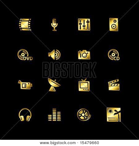 Gold media icons