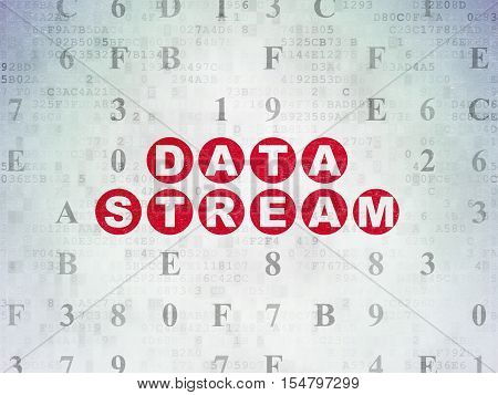 Data concept: Painted red text Data Stream on Digital Data Paper background with Hexadecimal Code
