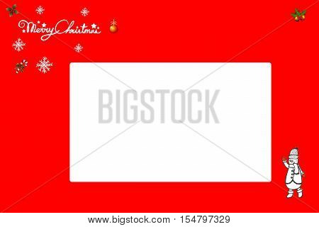 Illustrated greetingcard for christmas with text and Icons on red background. Space for text on White background. 2016