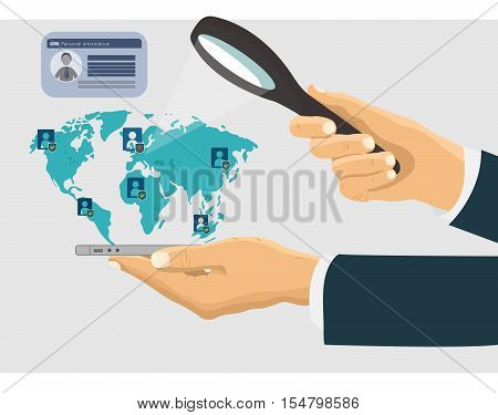 Hand with a mobile device magnifying glass search network concept illustration. Search hands with mobile phone and magnifying glass worldwide mobile. Vector illustration in flat design.