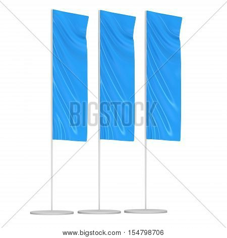 Blue Flag Blank Expo Banner Stand. Trade show expo booth. 3d render illustration isolated on white background. Template mockup for your expo design.