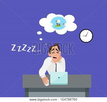 Businessman tired of the stress and sleeping on the job. An employee in the office count sheep in his sleep on table. Flat style design vector illustration.