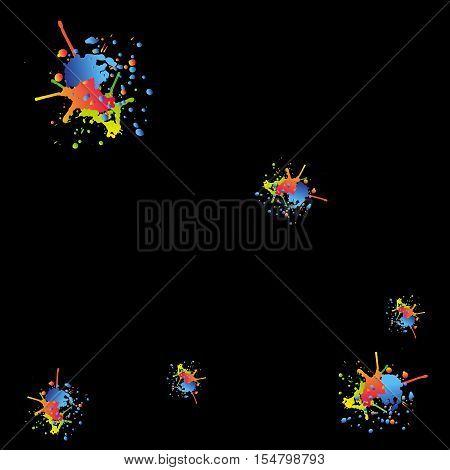 Grunge design. Colorful decoration. Drops element llustration. Ink liquid splashes. Vector image