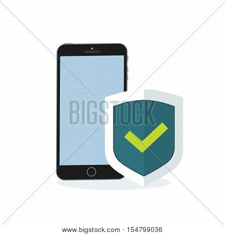Mobile phone with flat shield with a confirmed status of protection. Vector illustration mobile phone security shield.