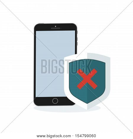 Phone and shield with a confirmed status of protection. Negative status on flat security shield. Vector illustration against the background of the earth.