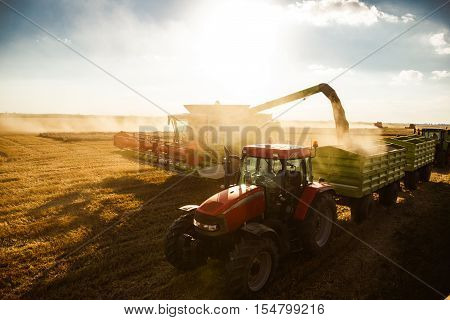 Harvesting On A Sunset