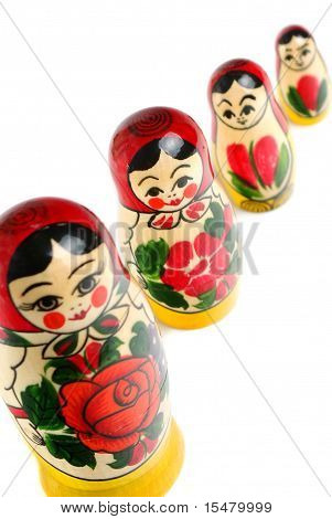 Russian matryoshka over white