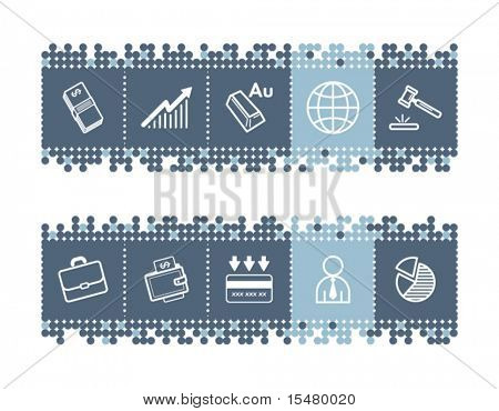 Blue dots bar with business icons. Vector file has layers, all icons in two versions are included.
