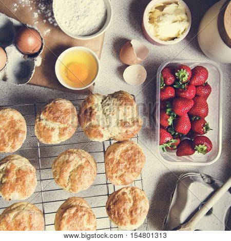 Baked Scone Pastry Eggs Strawberry Concept