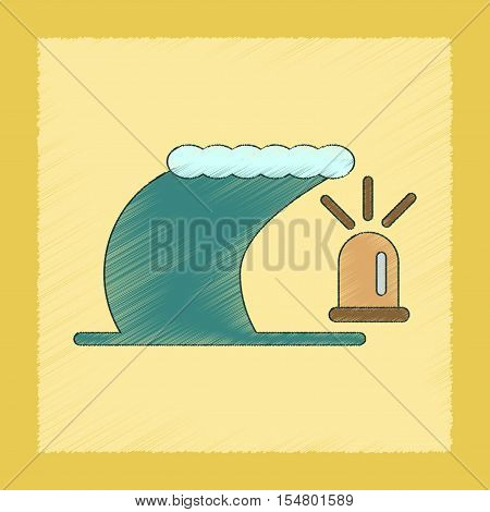 flat shading style icon of tornado alarm lamp