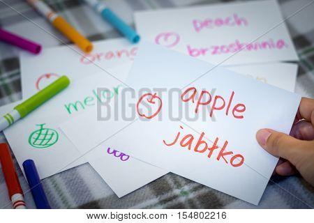 Polish; Learning New Language With Fruits Name Flash Cards