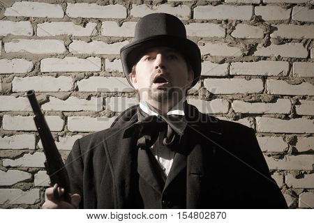 Victorian Style  Man Shot In The Head