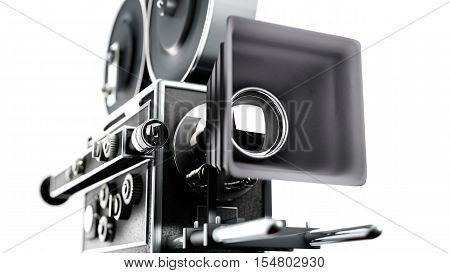 Vintage movie camera close up tilt shift