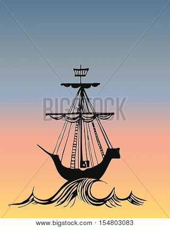 Ship on Sea vector illustration sailfish silhouette