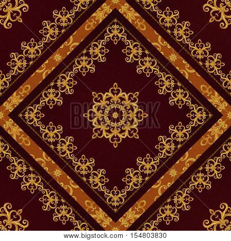 Pattern seamless. Golden crystals weaving arabesques. Gold arabesque oriental style abstract figure tiles mosaics. Sparkling decorative square frame. Dark brown background