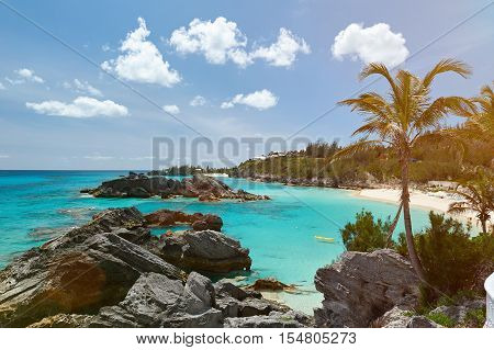 Caribbean Coast With Blue Clear Water